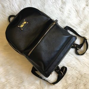 Diaper backpack black leather